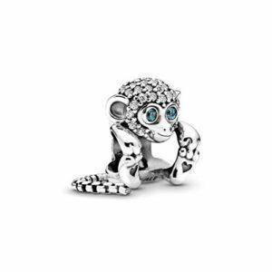 Charm PANDORA 798054CZ Scimmia luminosa, argento con cubic zirconi cubici e blu. Questo fascino Pandora 798054CZ orientato per le donne, è d'argento. Dimensioni: 3 cm